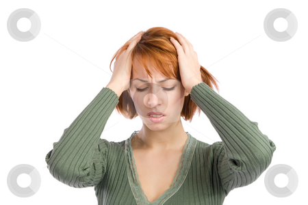 Woman with Headache stock photo, Woman with severe migraine headache holding hands to head, isolated over white background. by Rognar
