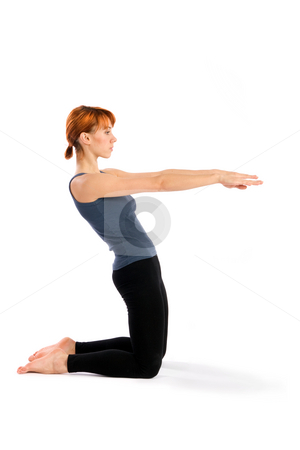 Slim Young Woman doing Fitness Exercise stock photo, Young slim woman doing fitness exercise, isolated on white. by Rognar