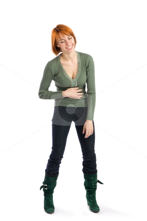 Woman Burst Out Laughing stock photo, Young attractive woman burst out laughing, isolated on white background. by Rognar