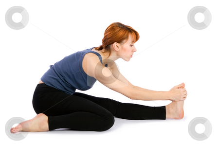 Woman Practising Yoga stock photo, Woman doing yoga exercise called Trianga Mukhaikapada Paschimottanasana, isolated on white background. by Rognar