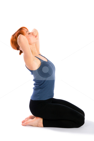 Slim Young Woman doing  Neck Stretching Exercise stock photo, Young slim woman doing neck stretching fitness exercise, isolated on white background. by Rognar