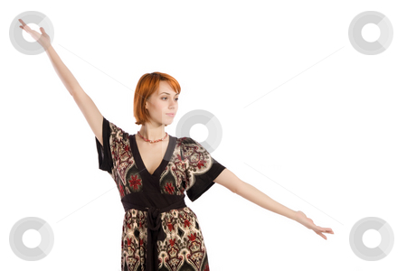 Fasion Woman Presenting Pose stock photo, Attractive fashion woman in presenting something pose, isolated on white background. by Rognar