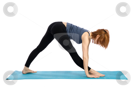 Woman Exercising stock photo, Young woman doing fitness exercise, isolated on white background. by Rognar