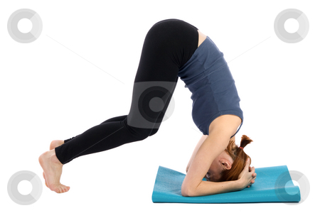 Fitness Woman stock photo, Young woman doing fitness exercise, isolated on white background. by Rognar