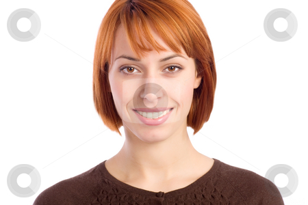 Happy Young Woman stock photo, Portrait of a beautiful young woman smiling. by Rognar