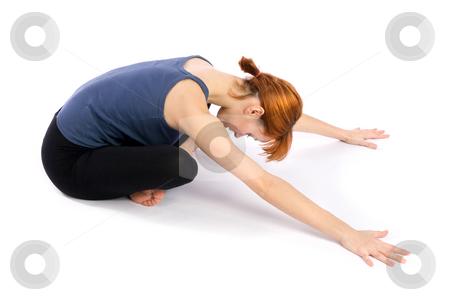 Woman doing Yoga Exercise stock photo, Woman doing yoga exercise called Adho Mukha Sukhasana (Downward Facing Comfortable Pose), isolated over white background. by Rognar