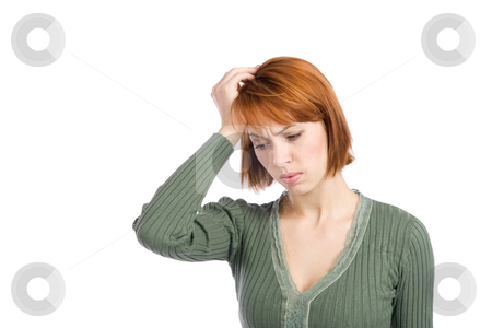 Woman with Migraine Headache stock photo, Woman with severe migraine headache holding hand to her head, isolated over white background. by Rognar