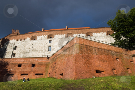 Wawer Royal Castle Fortifications stock photo, Stormy weather over Wawel Royal Castle fortifications in Cracow, Poland by Rognar