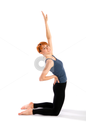 Slim Young Woman doing Yoga Exercise stock photo, Young slim relaxed woman doing yoga exercise called Ustrasana, isolated on white background. by Rognar