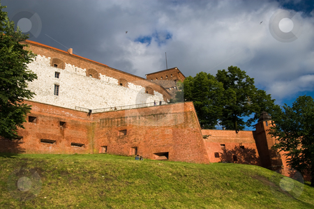 Wawer Royal Castle Fortifications stock photo, Wawel Royal Castle fortifications in Cracow, Poland by Rognar