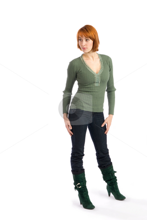 Young Woman Looking stock photo, Young attractive woman looking at something, isolated on white background. by Rognar