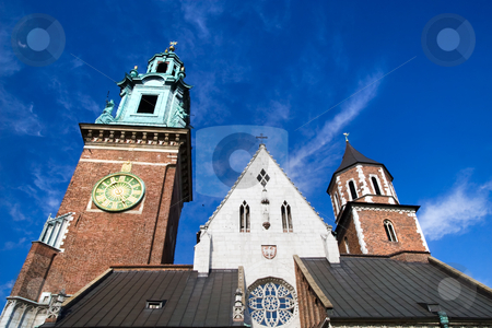 Wawel Cathedral Architecture stock photo, Closeup of the Wawel Cathedral towers part of the Wawel Royal Castle in Cracow, Poland. by Rognar