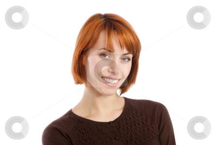 Young Woman Smiling stock photo, Portrait of a young natural woman smiling, isolated over white background. by Rognar