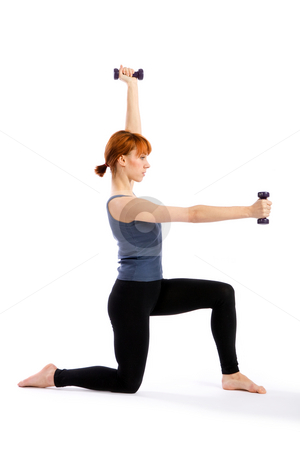 Fitness Woman with Dumbbells stock photo, Young fitness woman exercising with dumbbells, isolated on white background. by Rognar