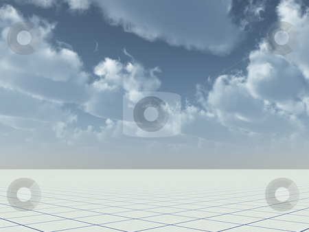 Tiles stock photo, Endless surface with tiles under blue sky - 3d illustration by J?