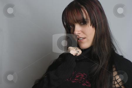 Fashion model - sweater stock photo, Twenty something fashion model holding sweater collar by Yann Poirier