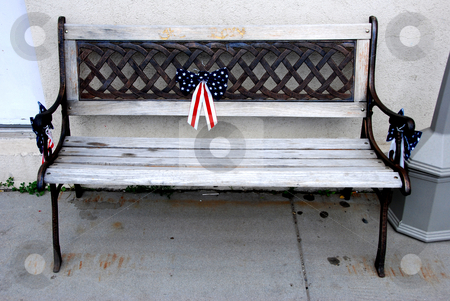 Patriotic Bench stock photo, USA, Idaho, Lake County, Cascade, A Bench with patriotic ribbon, downtown by David Ryan