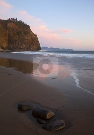 Oceanside Sunset stock photo, Pastel skies at sunset on the beach just north of Oceanside Oregon by Mike Dawson
