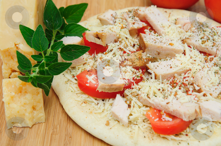 Un-cooked Chicken And Asiago Cheese Pizza stock photo, Grilled chicken, fresh tomatoes, garlic and grated Asiago cheese top this gournet pizza for one topped off with dried herbs and spices. by Lynn Bendickson