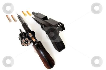 Revolver And Pistol stock photo, A 38 caliber revolver and a semi-auto pistol with ammunition showing on a white background by Lynn Bendickson