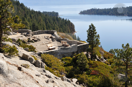 Lake Tahoe Scenic Overlook stock photo, Scenic view area overlooking Emerald Bay at Lake Tahoe on the California Side by Lynn Bendickson