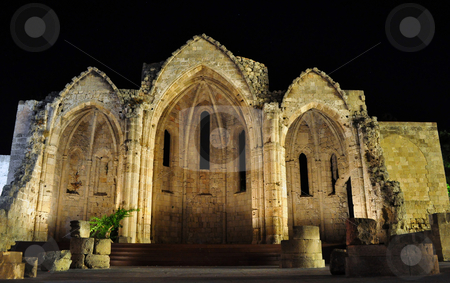 Rhodes Old Town stock photo, Basilica of Rhodes at night, Old Town, Greece by Fernando Barozza