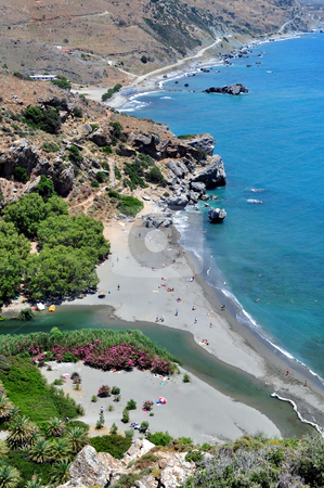 View of Preveli Beach stock photo, Travel photography: Fantastic view of Preveli Beach in Southern Crete, Greece by Fernando Barozza