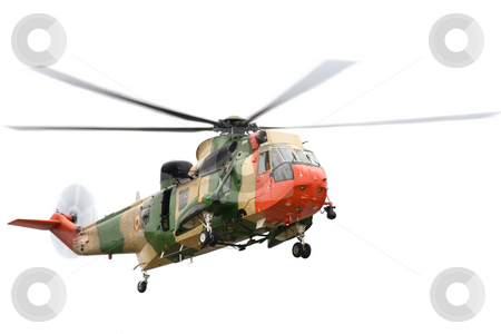 Rescue Helicopter stock photo, Rescue helicopter on isolated white background. by Rognar