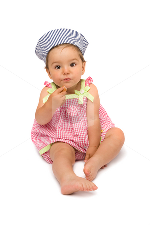 Cute Baby Girl Sitting stock photo, Cute baby girl sitting and finishing her meal, isolated over white background. by Rognar