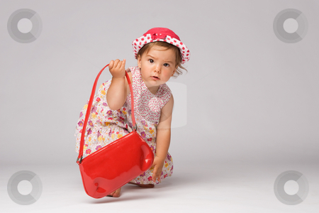Baby Fashion Model Posing stock photo, Cute little one year old girl posing in dress and red purse. by Rognar