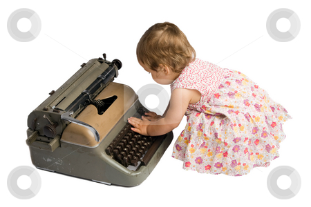 Baby Girl Typing on a Typewriter stock photo, Little one year old girl typing on an antique typewriter, isolated on white background. by Rognar