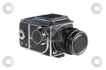 Old Medium Format Camera stock photo, An old medium format camera isolated on white background. by Rognar