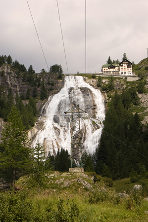 The Toce Waterfall stock photo, The Toce Waterfall used for hydroelectric purposes, Val Formazza, Italy by Roberto Marinello