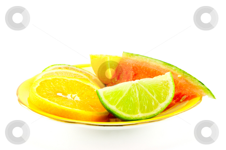 Citrus Fruit on a Yellow Plate stock photo, Lemon, lime and orange segments on a fancy yellow plate with juicy watermelon on a white background by Keith Wilson