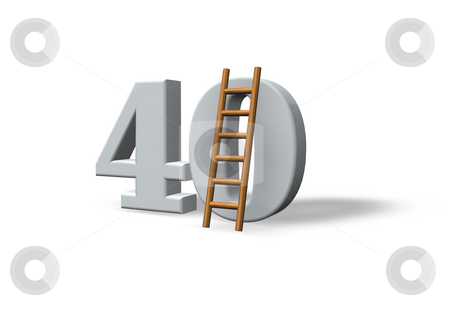 Forty stock photo, The number forty - 40 -  and a ladder on white background - 3d illustration by J?