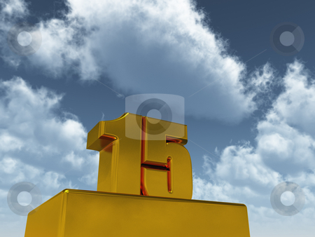 Fifteen stock photo, The number fifteen - 15 -  in front of blue sky - 3d illustration by J?