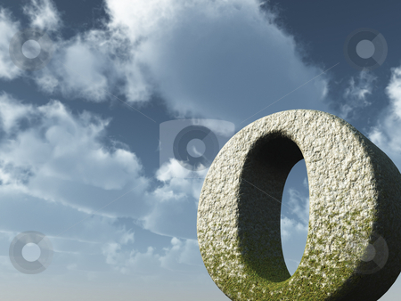 Big letter o stock photo, Letter o rock in front of blue sky - 3d illustration by J?