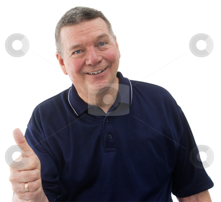 Looks good to me!  Portrait of mature man, isolated on white stock photo, Portrait of mature man wearing a dark blue polo shirt, smiling and giving the