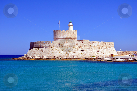 Fort Saint Nicholas, Rhodes, Greece stock photo, Travel photography: Fort Saint Nicholas, in the island of Rhodes, Greece (15th Century) by Fernando Barozza