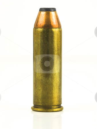 Bullet with Refection stock photo, Bullet with reflection on a white background by John Teeter