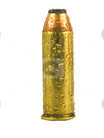 Wet Bullet stock photo, Bullet with water drops on a white background by John Teeter