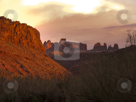 Dusk Over Arches stock photo, Dusk at Arches National Park. by Jeremy Tritchler