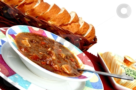 Beef stew stock photo, Home made beef stew with hot bread and butter by Shirley Mathews