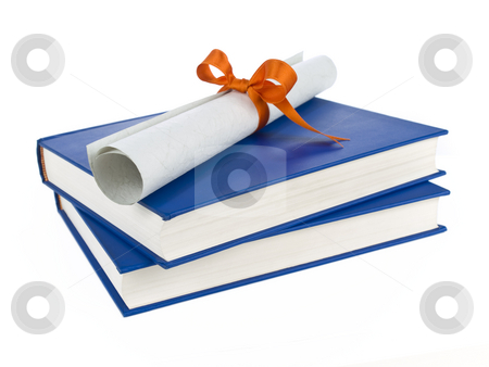 Dilploma and books stock photo, A diploma with orange ribbon over blue books. Isolated on white. by Ignacio Gonzalez Prado
