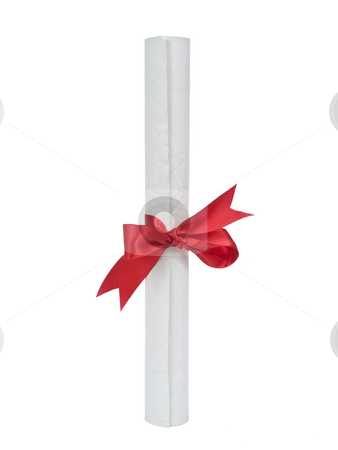 Diploma over white stock photo, A diploma with red ribbon isolated on white background. by Ignacio Gonzalez Prado