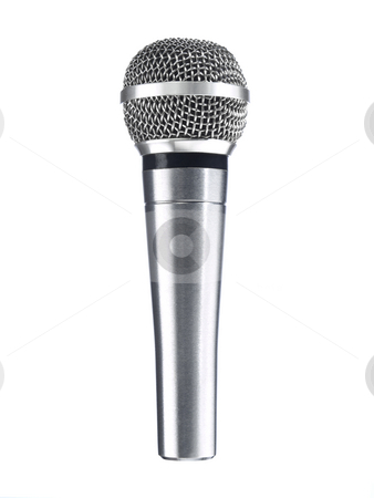 Dynamic mic stock photo, A metallic microphone isolated over a white background. by Ignacio Gonzalez Prado