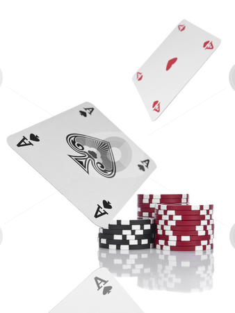 Flying aces stock photo, Two aces flying over piles of gambling chips. Isolated on white. by Ignacio Gonzalez Prado