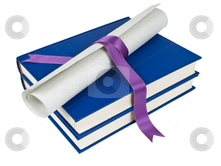 Dilploma and books stock photo, A diploma with violet ribbon over blue books. Isolated on white. by Ignacio Gonzalez Prado