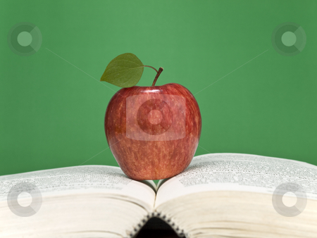 Healthy learning stock photo, A red apple over an open book. Blank chalkboard on the background. by Ignacio Gonzalez Prado
