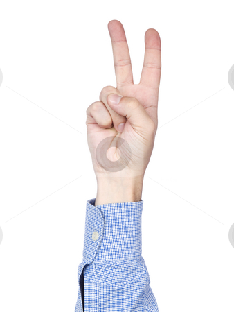 Number 2 stock photo, A man's hand doing number 2 gesture, isolated on white background. by Ignacio Gonzalez Prado